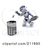Royalty Free RF Clipart Illustration Of A 3d Silver Robot Tossing A Tin Can Into A Trash Bin by KJ Pargeter