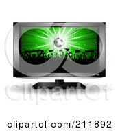 Royalty Free RF Clipart Illustration Of A Soccer Crowd On A Television Screen by KJ Pargeter
