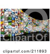 Royalty Free RF Clipart Illustration Of A Curved Wall Of Image Screens On A Reflective Black Background by KJ Pargeter