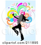 Royalty Free RF Clipart Illustration Of A Dancing Woman Silhouetted Over Colorful Swirls On Blue