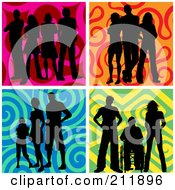 Royalty Free RF Clipart Illustration Of A Digital Collage Of Groups Of Silhouetted People Over Colorful Backgrounds by KJ Pargeter