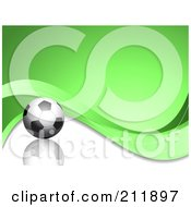 Royalty Free RF Clipart Illustration Of A Soccer Ball On A Wavy Green And Reflective White Background by KJ Pargeter