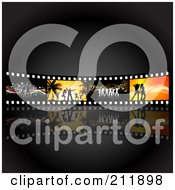 Royalty Free RF Clipart Illustration Of A Wall Of Dancing Film Strips Over Black by KJ Pargeter