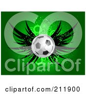 Royalty Free RF Clipart Illustration Of A Winged Soccer Ball On A Grungy Halftone Green Background