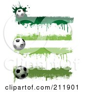 Royalty Free RF Clipart Illustration Of A Digital Collage Of Three Grungy Green Soccer Ball Website Header Designs