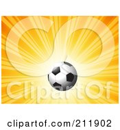 Royalty Free RF Clipart Illustration Of A Soccer Ball On A Shiny Orange Background by KJ Pargeter