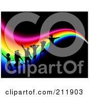 Royalty Free RF Clipart Illustration Of A Background Of Silhouetted Dancers Over A Wavy Rainbow On Black by KJ Pargeter