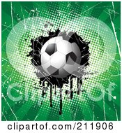 Royalty Free RF Clipart Illustration Of A Soccer Ball On A Grungy Halftone Scratched And Dripping Background by KJ Pargeter