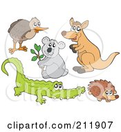 Royalty Free RF Clipart Illustration Of A Digital Collage Of A Kiwi Bird Koala Kangaroo Crocodile And Hedgehog