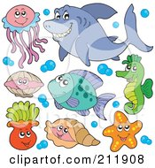 Royalty Free RF Clipart Illustration Of A Digital Collage Of A Jellyfish Clam Anemones Shells Starfish Fish Seahorse And Shark