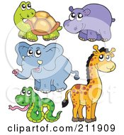 Royalty Free RF Clipart Illustration Of A Digital Collage Of A Cute Tortoise Hippo Elephant Giraffe And Snake by visekart