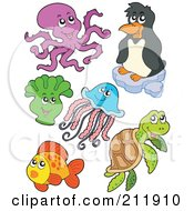 Royalty Free RF Clipart Illustration Of A Digital Collage Of An Octopus Penguin Anemone Jellyfish Sea Turtle And Fish