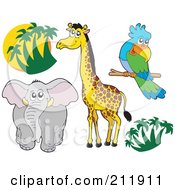 Royalty Free RF Clipart Illustration Of A Digital Collage Of Palm Trees Elephant Giraffe And Parrot by visekart