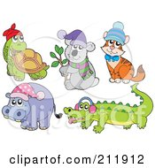 Royalty Free RF Clipart Illustration Of A Digital Collage Of A Tortoise Koala Cat Hippo And Crocodile