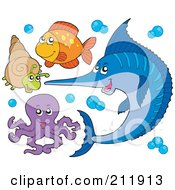 Royalty Free RF Clipart Illustration Of A Digital Collage Of A Marlin Sea Snail Fish And Octopus