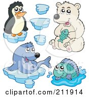 Royalty Free RF Clipart Illustration Of A Digital Collage Of A Cute Penguin Polar Bear Seal Fish And Ice by visekart