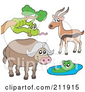 Royalty Free RF Clipart Illustration Of A Digital Collage Of A Snake Ox Antelope And Crocodile