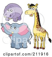 Royalty Free RF Clipart Illustration Of A Digital Collage Of A Cute Hippo Giraffe And Elephant by visekart