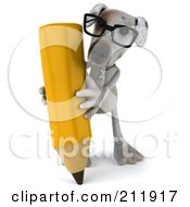 Royalty Free RF Clipart Illustration Of A 3d Jack Russell Terrier Pooch Wearing Glasses And Using A Pencil