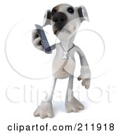 Royalty Free RF Clipart Illustration Of A 3d Jack Russell Terrier Pooch Using A Smart Phone 1