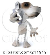 Royalty Free RF Clipart Illustration Of A 3d Jack Russell Terrier Pooch Using A Smart Phone 2