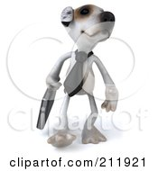 Royalty Free RF Clipart Illustration Of A 3d Jack Russell Terrier Pooch Businessman Walking Forward
