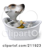 Royalty Free RF Clipart Illustration Of A 3d Jack Russell Terrier Pooch Taking A Bath