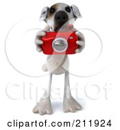 Royalty Free RF Clipart Illustration Of A 3d Jack Russell Terrier Pooch Using A Camera