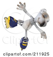 Royalty Free RF Clipart Illustration Of A 3d Jack Russell Terrier Pooch Jumping While Roller Blading