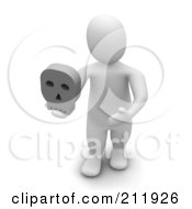 Royalty Free RF Clipart Illustration Of A 3d Blanco Man Facing Front And Holding A Skull by Jiri Moucka