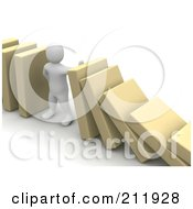 Royalty Free RF Clipart Illustration Of A 3d Blanco Character Holding Up Toppling Blocks by Jiri Moucka
