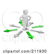 Royalty Free RF Clipart Illustration Of A 3d Blanco Man Standing In A Circle Of Gray And Green Arrows by Jiri Moucka