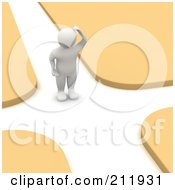 Royalty Free RF Clipart Illustration Of A 3d Blanco Man Standing In The Middle Of A Crossroad