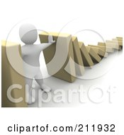 Royalty Free RF Clipart Illustration Of A 3d Blanco Character Preventing Blocks From Falling