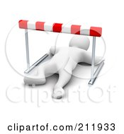 Royalty Free RF Clipart Illustration Of A 3d Blanco Man Knocked Out Under A Hurdle by Jiri Moucka