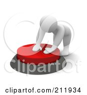Royalty Free RF Clipart Illustration Of A 3d Blanco Man Pushing Down A Big Red Button by Jiri Moucka