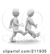 Royalty Free RF Clipart Illustration Of A 3d Blanco Man Kicking Another On The Butt by Jiri Moucka