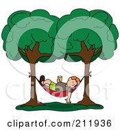 Royalty Free RF Clipart Illustration Of A Relaxed Red Haired Man With A Beverage Sleeping In A Hammock Between Two Trees
