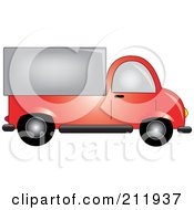 Royalty Free RF Clipart Illustration Of A Red Delivery Truck In Profile