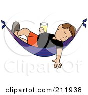 Royalty Free RF Clipart Illustration Of A Relaxed Brunette Caucasian Man With A Beer Sleeping In A Hammock