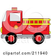 Royalty Free RF Clipart Illustration Of A Red Fire Truck With A Yellow Ladder