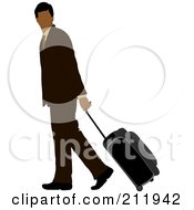Royalty Free RF Clipart Illustration Of A Faceless Black Businessman In A Brown Suit Walking And Pulling Rolling Luggage