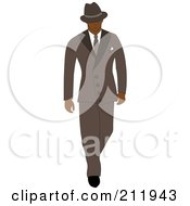Royalty Free RF Clipart Illustration Of A 40s Styled Black Businessman Walking In A Blue Suit