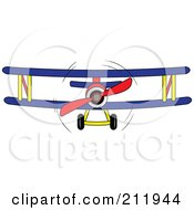 Royalty Free RF Clipart Illustration Of A Blue Red And Yellow Biplane In Flight
