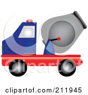 Blue And Red Cement Truck In Profile