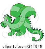 Royalty Free RF Clipart Illustration Of A Cute Green Baby Dragon In Profile by Pams Clipart