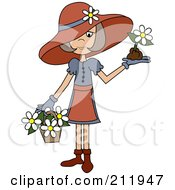 Senior Lady In A Hat With Flowers In A Basket And A Flower In Her Hand