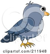 Royalty Free RF Clipart Illustration Of A Profile Of A Blue Bird