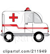 Royalty Free RF Clipart Illustration Of A Red And White Ambulance In Profile