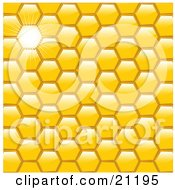 Yellow Honeycomb Patterned Background With A Bright Light Beaming Through One Space by elaineitalia